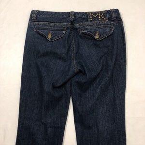 Michael Kors Flap Button Jeans Boot Cut Blue Sz 8